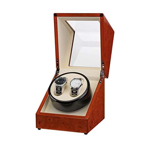 NZDY Remontoirs de montre Boîtes de remontoir de montre Peinture de noyer Tête unique 2 Montre Automatique Remontage de montre Berceau Boîte de moteur Boîte de montre rotative électrique Remontoir de