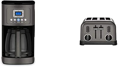 Cuisinart DCC-3200BKSP1 Perfectemp Coffee Maker, 14 Cup Progammable with Glass Carafe, Black Stainless Steel & CPT-180BKS Metal Classic Toaster, 4-Slice, Black Stainless