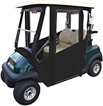 Doorworks Hinged Door Golf Cart Enclosures – EZGO RXV Sunbrella Canvas Cart Cover, Swinging Hard Doors, 4 Sided, Zippered Drivable Golf Cart Cover Fits Golf Bags, Utility Box and Rear Facing Seat