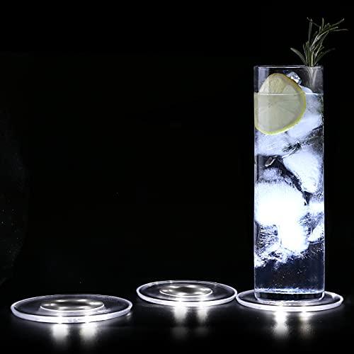 MEDOYOH 3 Pezzi Sottobicchieri Illuminati Bianco Freddo per Bevande, ON/OFF Sottobicchieri LED per Birra Cocktail, Impermeabile Sottobicchieri Acrilico per Party Matrimoni Engagement Bar Natale