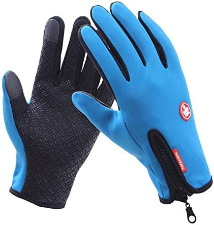 New 2018 Winter Thicken Gloves Male Warm Quality Mitten Autumn Winter Solid Women High Business Cloth Snow Gloves - (Color: D-B02 Blue, Gloves Size: M)