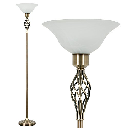 Traditional Style Antique Brass Barley Twist Floor Lamp with a Frosted Alabaster Shade