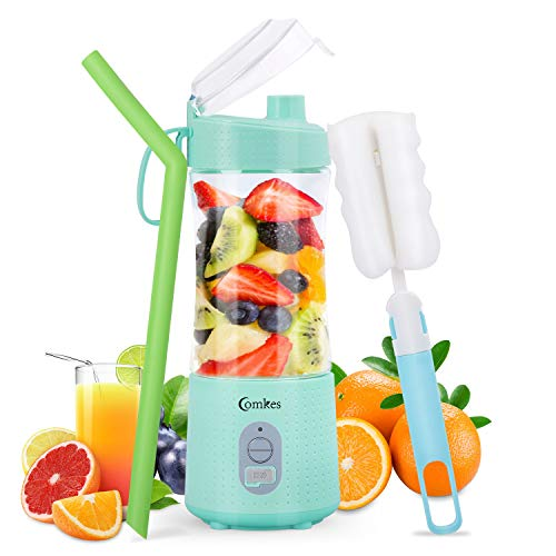 Portable Blender, Comkes Personal Size Blenders Smoothies and Shakes, Handheld Fruit Mixer Machine USB Rchargeable Juicer Cup, Ice Blender Mixer Home/Office/Sports/Travel/Outdoors