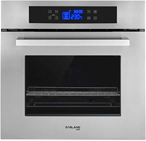 "Single Wall Oven, GASLAND Chef ES611TS 24"" Built-in Electric Ovens, 240V 3200W 2.3Cu.f 11 Cooking Functions Convection Wall Oven with Rotisserie, Digital Display, Touch Control, Stainless Steel Finish"