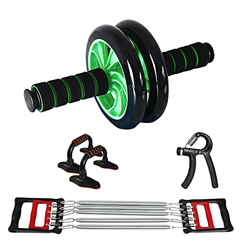 ideapro Ab Wheel Roller, 4-in-1 Ab Roller Workout Kit with Chest Expander, Push Up Bars, Hand Grip, Gym Equipment for Home Core Exercise Equipment for Men Women