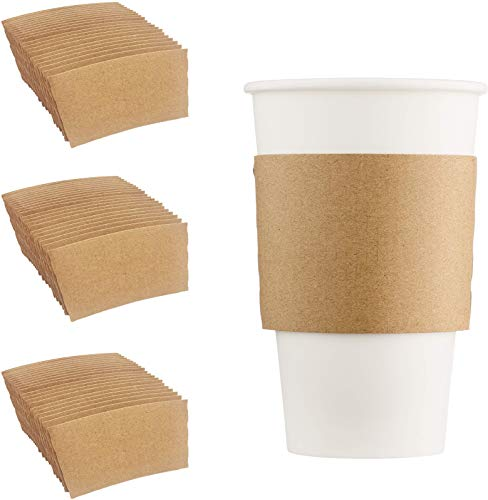 HARVEST PACK Disposable Corrugated Kraft Paper Cup Sleeves, Brown, Fits 10/12/20/24 oz Cups [850 COUNT]