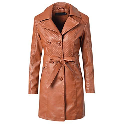 giacche cappottino Giacca da donna in pelle a taglio lungo e vellutata con risvolto spesso donna casual invernale cerniera sottile manica lunga giacca lunga fasciatura cappotto caldo/Brown,XL