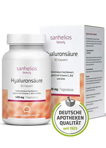 Sanhelios® Hyaluronsäure hochdosiert + Vitamin C, B12 & Zink - Für Haut, Anti-Aging und Gelenke - 90 vegane Kapseln im 3 Monatsvorrat - Premium 500-700 kDa - Apothekenprodukt