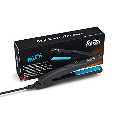 Professional Travel Size 0.5 inch Mini Flat Iron Tourmaline Ceramic Hair Straightener Black