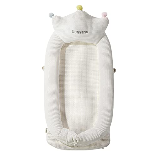 SUNVENO Portable Baby Bed Newborn Co Sleeping Lounger, Soft Cotton Baby Bed Breathable for 0-12 Months Newborn Babies, White