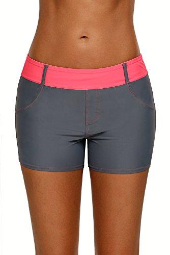 DarkCom Vrouwen Onderste Badpak Shorts Trekkoord Bikini Bottoms Dames Stretch Zwemmen Boyleg Zwem Boardshorts