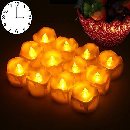 LED Kerzen,12er Gelb LED Flammenlose Kerzen mit Timerfunktion Led Teelichter 6 Stunden an und 18 Stunden aus, flackernde batteriebetriebene kerzen, Gelb