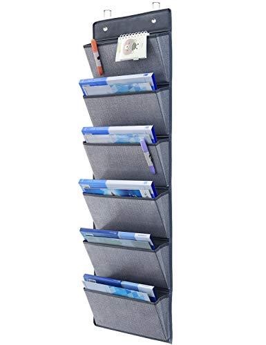homyfort Estanteria Colgante para Organizar - Colgadores de Puerta con 6 Bolsillos, Estanterías de Tela para Colgar en Las Puertas o en la Pared, para Juguetes, Ropa, Gafas de Sol, Gris, MAGAZINE1