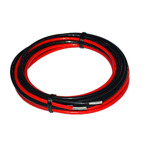 TUOFENG 10 Gauge Elektrodraht (3m schwarz + 3m rot)Marine Grade Primärdraht Hochspannungskabel 1000V Hochtemperaturkabel für die Batterie Batteriekabel Litzen aus verzinntem Kupfer Festgeklemmdraht