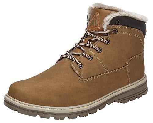 Mishansha Herren Winterschuhe Schneestiefel Wasserdicht Boots Winter Outdoor Wandern Stiefel Männer Flache Arbeitsstiefel Gelb Gr.48 EU