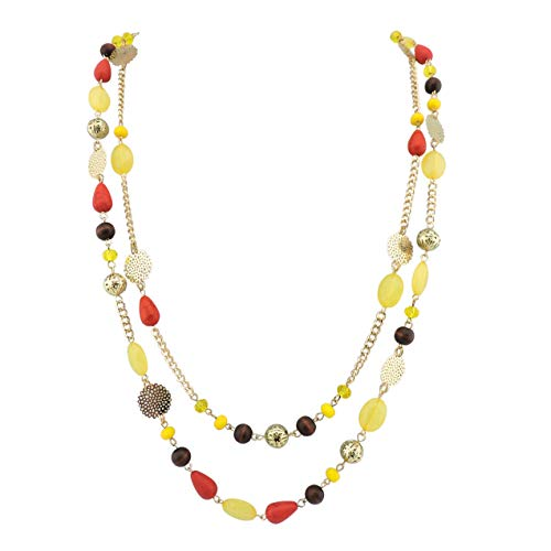 Bocar 14K Gold Plated Link Chain 2 Layer Crystal Wood Acrylic Colorful...