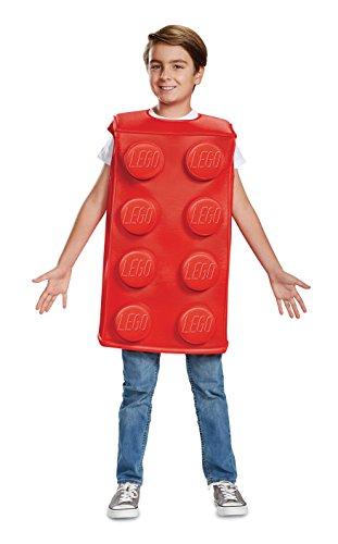 LEGO- Building Block Disfraz de ladrillo para niños icónico, Color Rojo, Rosso, S (Disguise 66145L)