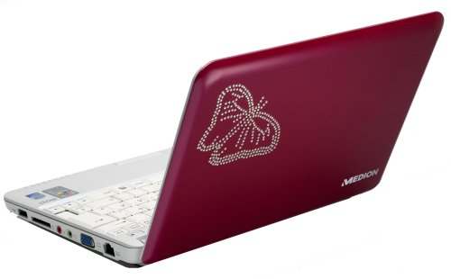 Medion Akoya Swarovski 25,4 cm (10 Zoll) Netbook (Intel Atom N270 1.6GHz, 1GB RAM, 160GB HDD, Intel GMA 950, XP Home) pink
