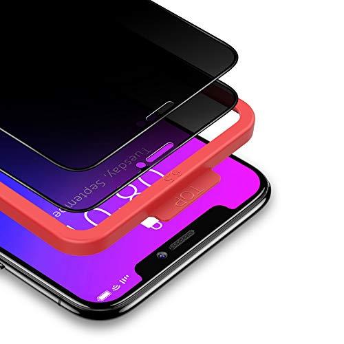 BANNIO Pellicola Privacy per iPhone 11 Pro Max/iPhone XS Max,2 Pezzi Curva 3D Full Screen Vetro Temperato,Anti Spy Pellicola Protettiva Copertura Totale Protezione Schermo per iPhone 11 Pro Max/XS Max