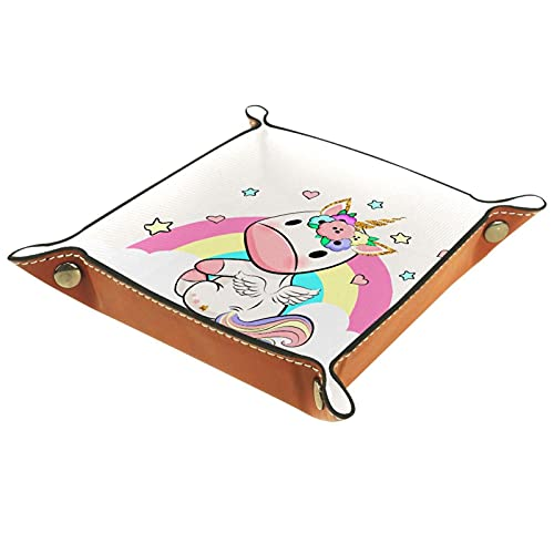 Baby Unicorn Top Microfiber Jewelry Tray Square Nightstand Organizador Anillos Pendientes Collar Baratija Bandeja de Almacenamiento Escaparate Joyería Exhibición