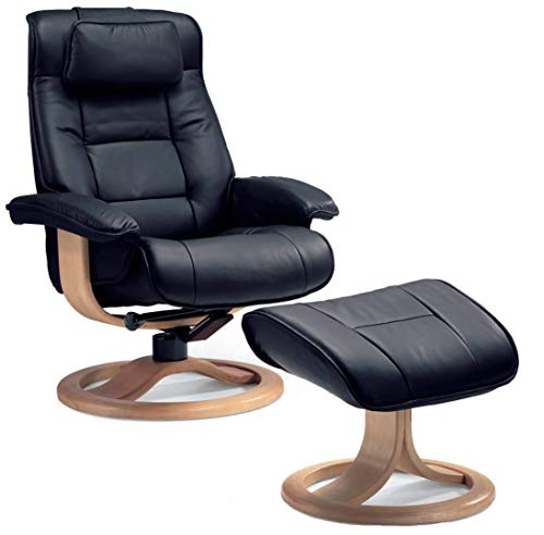 Fjords Mustang Large Ergonomic Recliner Chair with Ottoman in Black NL 101 Nordic Line Leather with a Walnut Wood Stain Base