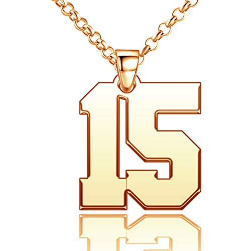 LoEnMe Jewelry Gold Plated 15 Football Number Necklace Personalized Woman Sterling Silver Custom Ice Day, 0.9 inch