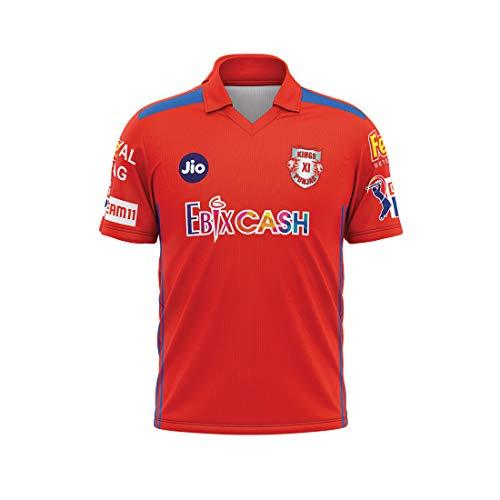 WARRIOR Triumph Men's Polyester KXIP Jersey IPL Jersey 2020 Kings XL Punjab Cricket Jersey 2020 Cricket Kings XL Punjab Team Jersey T20 Size XL