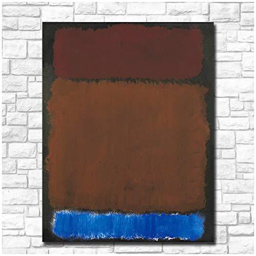 TanjunArt Mark Rothko Vino óxido Azul sobre Negro Arte Lienzo Pintura póster Impresiones hogar Pared Arte Sala de Estar decoración del hogar -60x80cm sin Marco