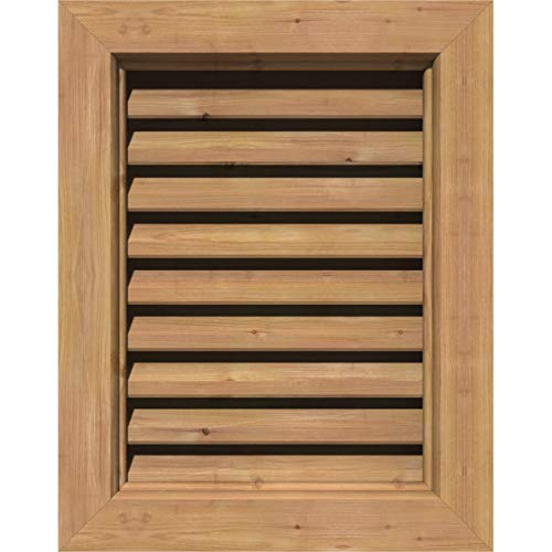 Ekena Millwork GVWVE18X2400SFUWR Unfinished, Functional, Smooth Western Red Cedar with Brick Mould Face Vertical Gable Vent 23-Inch x 29-Inch Frame Size, 18-Inch x 24-Inch