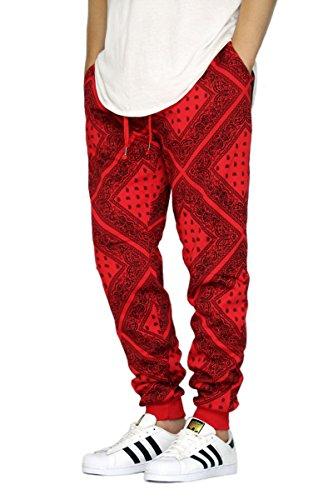 URBANJ Men's Bandana Fleece Jogger Pants S-3XL (L, Red)