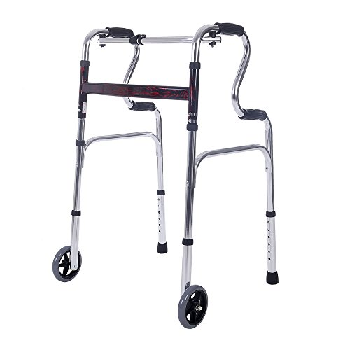 SUKONG Compact Folding Walker, Rising Aid 3 in 1 with Trigger Release and 5 inches Wheels Portable Lightweight Supports up to 255 lbs