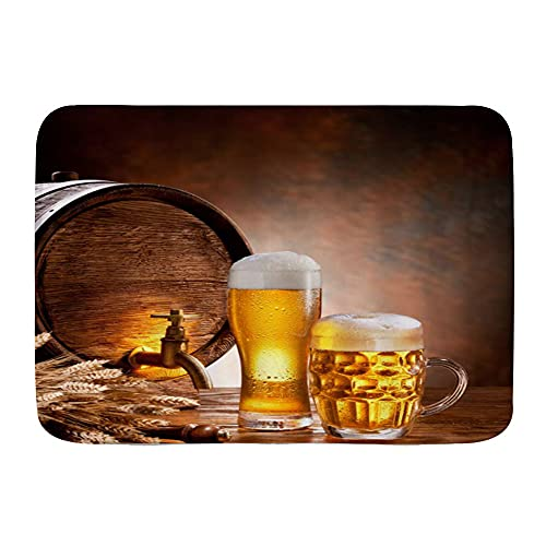 SUHETI Alfombra de baño,Barril de Madera Licor Retro Taza de Cerveza rebosante de Trigo Maduro Barril de Cerveza Grifo de Agua Humor Escena ,Alfombrilla de baño Absorbente Gruesa y Antideslizante