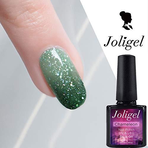 Joligel Chameleon Temperatur Farbwechsel Neon Gel Nagellack mit holografischen Glitzern Thermal Nagellack UV LED tränken Maniküre Nail Art Nail Design, grün von matcha