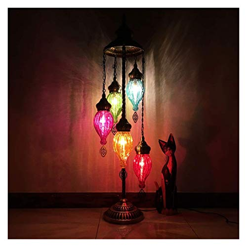 Lámpara de pie de Light, lámpara de pie de estilo turco, colorida pantalla de cristal agrietado, luz de pie para decoración del hogar, sala de estar, hotel, cafetería, regalo, lámparas de pie de bronc