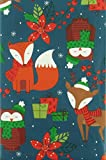 Happy Holiday Woodland Creatures Twilight Christmas Collection Vinyl Flannel Back Tablecloth (52' x 90' Oblong)