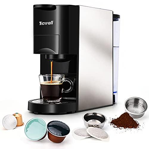 Cafetière TICWELL ESSENTIAL Mini machine à capsules multifonction 4 en 1 pour café en poudre et dosettes Nespresso machine à café réglable en quantité de café 1450W 19 Bar Réservoir d'eau