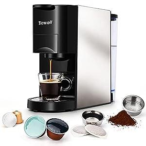 Cafetera 4 en 1, TICWELL Essential, volumen de café automático multifunción mini Nespresso, 1450 W, 19 bar, depósito de agua de 0,8 l