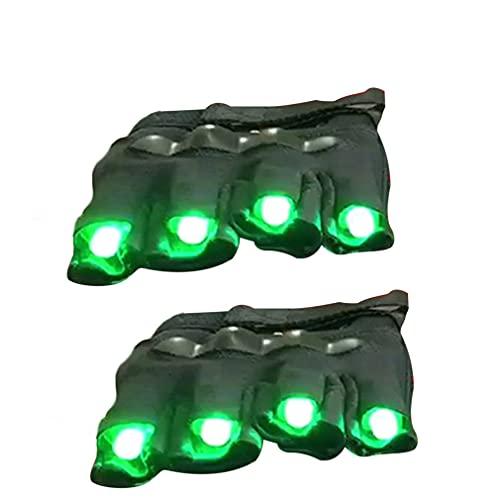 Dpatleten LED Party Handschuhe, leuchtende Handschuhe für Kinder Jugend, Vier Farben Finger Glow, lustige Handschuhe als Geschenke zu Weihnachten Geburtstag und Karneval Grünes Licht