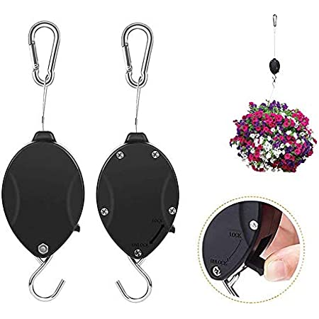 Retractable Plant Wire Pulley, Adjustable Plant Hanger Hook with Locking Mechanism for Hanging Plants, Garden Flower Baskets, Pots and Bird Feeders, Lower and Raise in Different Height, Black (2)