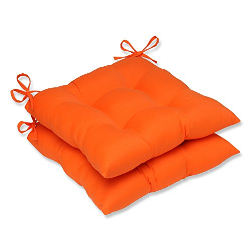 Pillow Perfect Outdoor/Indoor Sundeck Tufted Seat Cushions (Square Back), 19' x 18.5', Orange, 2 Pack