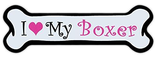 Crazy Sticker Guy Pink Dog Bone Shaped Magnet - I Love My Boxer - Cars, Trucks, Refrigerators