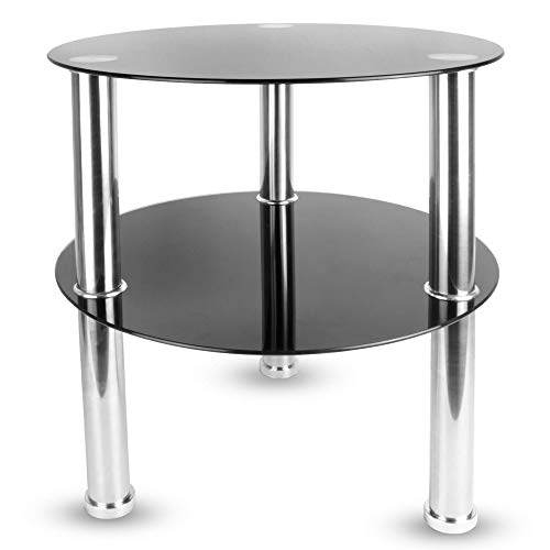 Maison & White Small Round Glass 2 Tier Table | Sofa Bed Side Storage Shelf Coffee Table | Stainless Steel Legs with Tempered Glass Surfaces | M&W (Black)