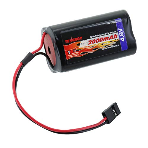 Tenergy NiMH Receiver RC Battery with Hitec Connectors 4.8V 2000mAh High Capacity Futaba Battery Pack, Square Rechargeable Battery Pack for RC Receivers, Airplanes, and More