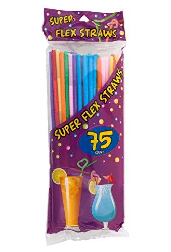 LaMi 75 Super Flex Straws, Plastic Assorted Colors
