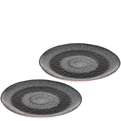 Leonardo Matera Keramik-Teller 2-er Set, spülmaschinengeeignete Speise-Teller, Essteller mit Glasur, 2 runde Steingut-Teller grau, Ø 22,5 cm, 026998