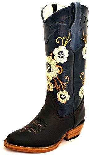 Micuari Cowboystiefel für Damen, Blau - blau - Größe: 37 EU