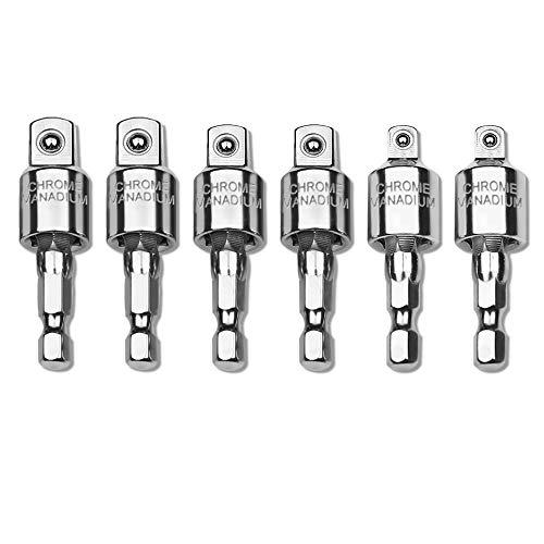 AFUNTA 6 Pcs 360°Rotating Power Drill Socket Connecting Rod, Socket Bit Adapter 1/4' 3/8' 1/2' Impact Driver Socket Hexagon Shank Bit Set