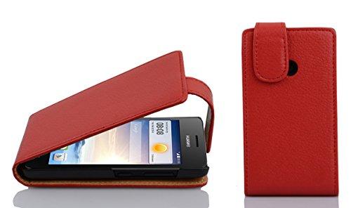 Preisvergleich Produktbild Cadorabo Hülle für Huawei Ascend G330 in Inferno ROT - Handyhülle im Flip Design aus Strukturiertem Kunstleder - Case Cover Schutzhülle Etui Tasche Book Klapp Style