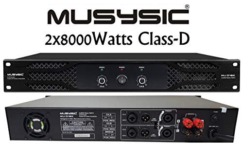 Learn More About MUSYSIC MU-D16K Professional 2-Channel 2x8000 Watts D-Class 1.5U Power Amplifier