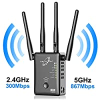 4 External Antennas to better improve the existing network signal strength., extend wireless signal to hard-to-reach areas with the 802.11 ac technology. 1200Mbps transmission rate. Use both Wi-Fi bands(2.4G+5G) to establish one high-speed connection...